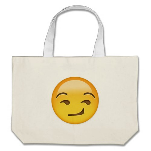 Smirking Face Emoji Large Tote Bag