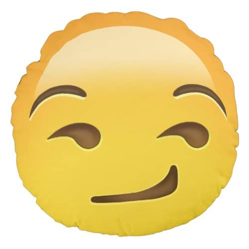 Smirking Face Emoji Round Pillow