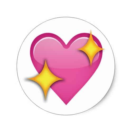 Sparkling Heart Emoji Classic Round Sticker