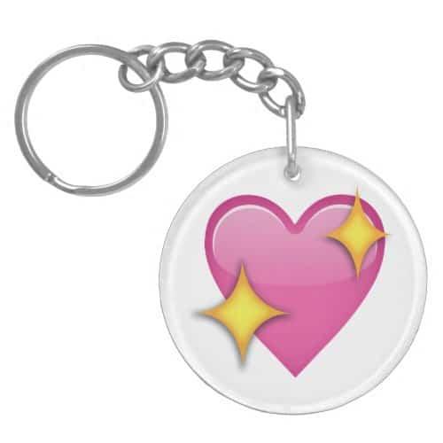 Sparkling Heart Emoji Keychain
