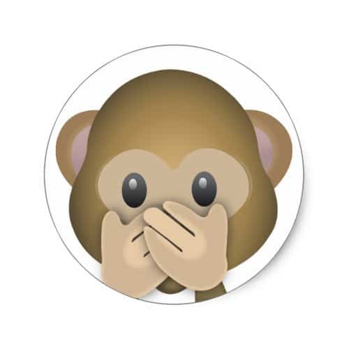 Speak no evil emoji classic round sticker
