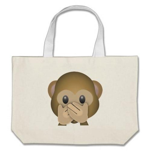Speak No Evil Emoji Large Tote Bag