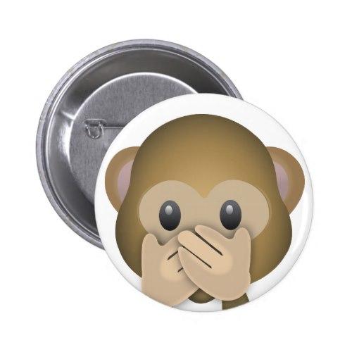 Speak No Evil Emoji Pinback Button