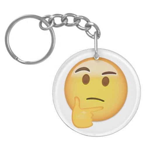 Thinking Face Emoji Keychain