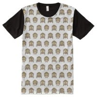 Three Wise Monkeys Emoji All-Over-Print T-Shirt