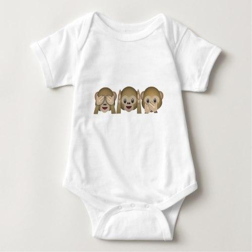 Three Wise Monkeys Emoji Baby Bodysuit