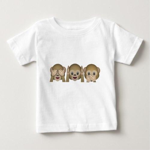 Three Wise Monkeys Emoji Baby T-Shirt