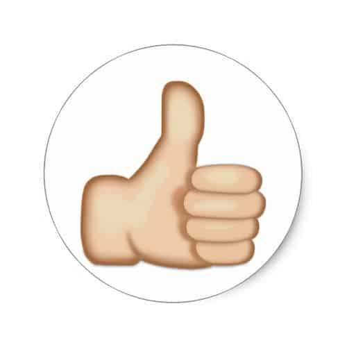 Thumbs up sign emoji classic round sticker