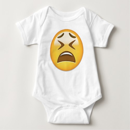 Tired Face Emoji Baby Bodysuit