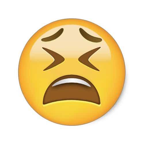 Tired Face Emoji Classic Round Sticker