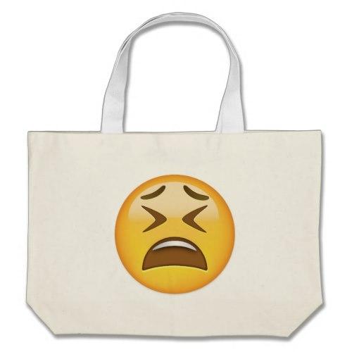 Tired Face Emoji Large Tote Bag