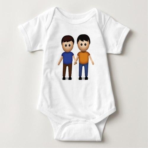 Two Men Holding Hands Emoji Baby Bodysuit