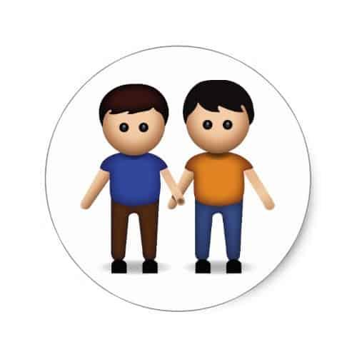 Two Men Holding Hands Emoji Classic Round Sticker
