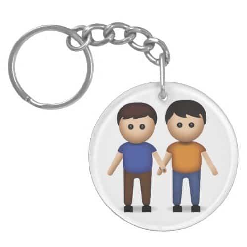 Two Men Holding Hands Emoji Keychain