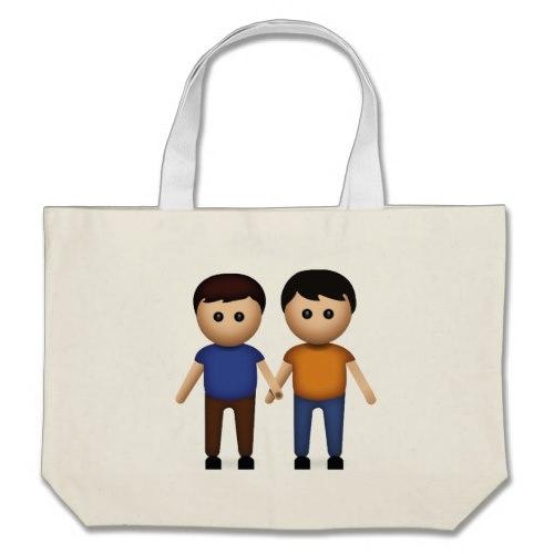 Two Men Holding Hands Emoji Large Tote Bag