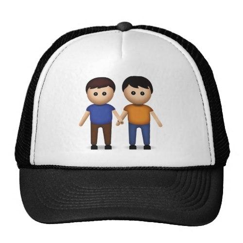 Two Men Holding Hands Emoji Trucker Hat