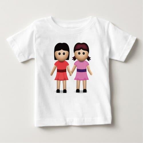 Two Women Holding Hands Emoji Baby T-Shirt