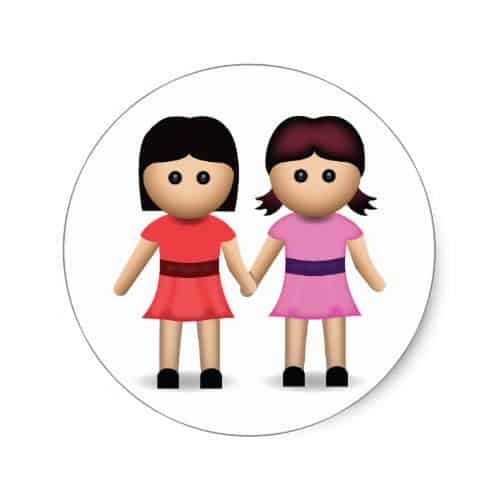 Two Women Holding Hands Emoji Classic Round Sticker