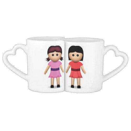 Two Women Holding Hands Emoji Coffee Mug Set