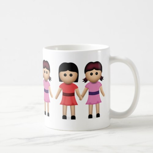 Two Women Holding Hands Emoji Coffee Mug