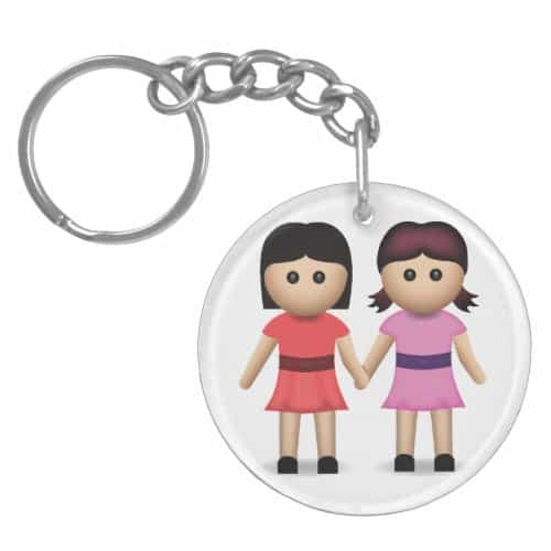 Two Women Holding Hands Emoji Keychain