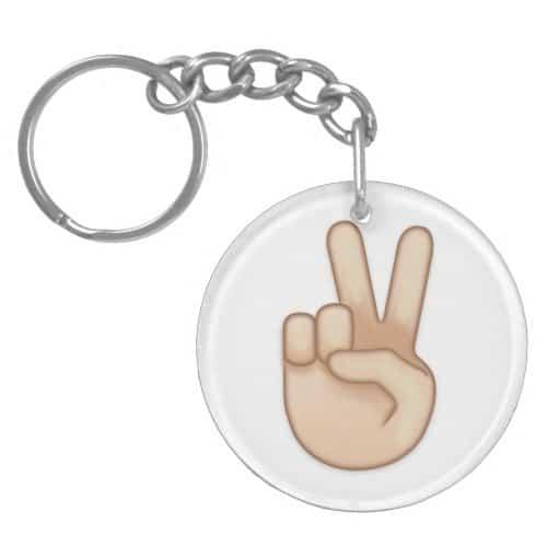 Victory Hand Emoji Keychain