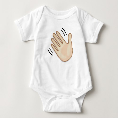 Waving Hand Sign Emoji Baby Bodysuit