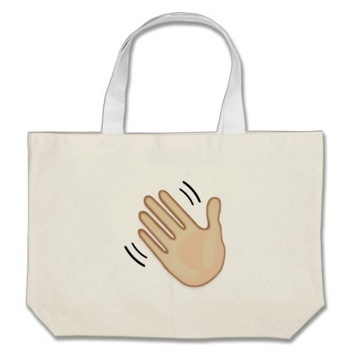 Waving Hand Sign Emoji Large Tote Bag