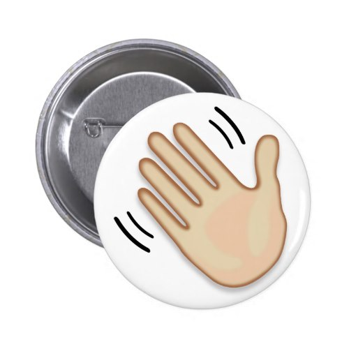 Waving Hand Sign Emoji Pinback Button