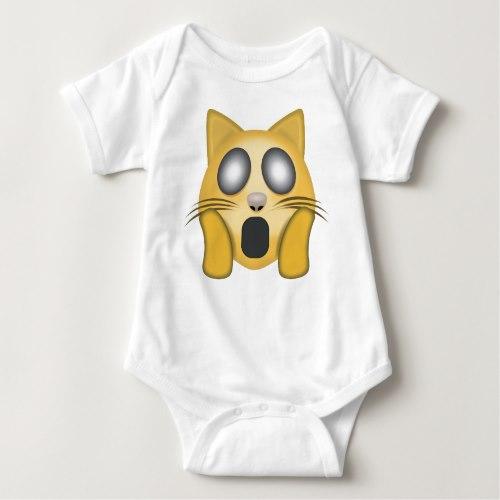Weary Cat Face Emoji Baby Bodysuit