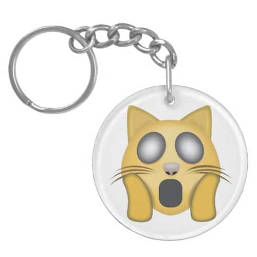 Weary Cat Face Emoji Keychain
