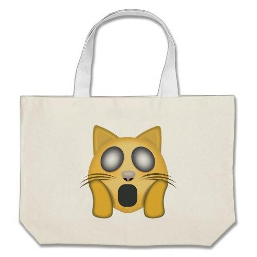 Weary Cat Face Emoji Large Tote Bag