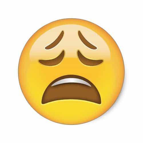 Weary Face Emoji Classic Round Sticker