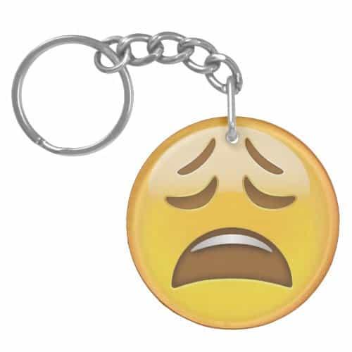 Weary Face Emoji Keychain