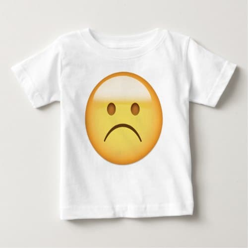 White Frowning Face Emoji Baby T-Shirt