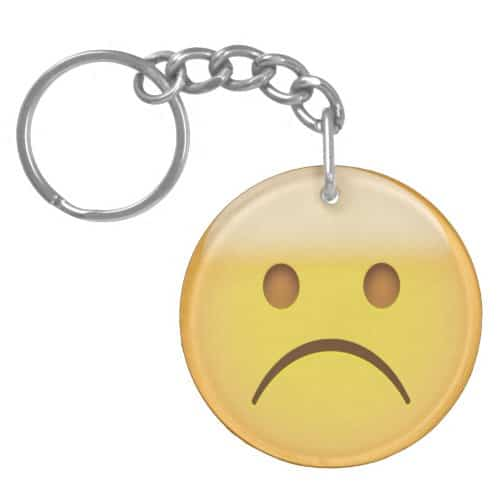 White Frowning Face Emoji Keychain