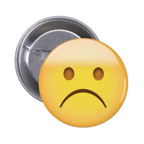 White Frowning Face Emoji Pinback Button