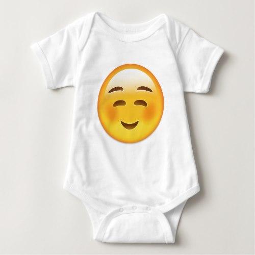 White Smiling Face Emoji Baby Bodysuit
