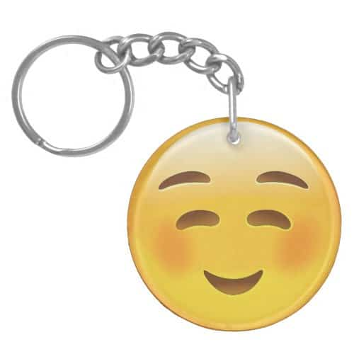 White Smiling Face Emoji Keychain