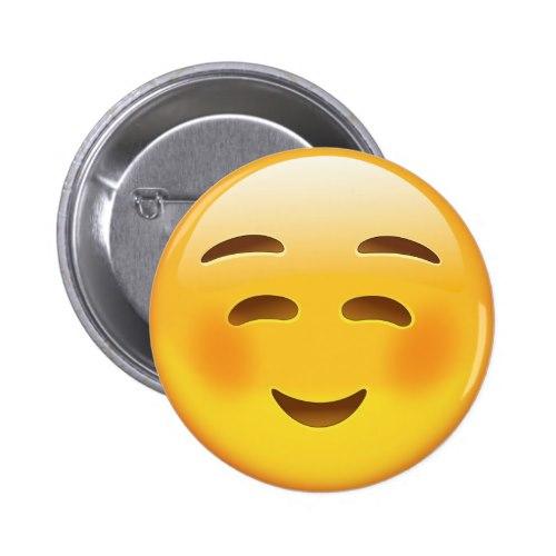 White Smiling Face Emoji Pinback Button