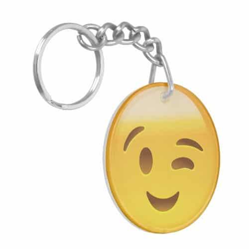 Winking Face Emoij Keychain