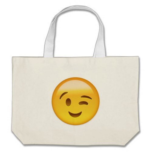 Winking Face Emoij Large Tote Bag
