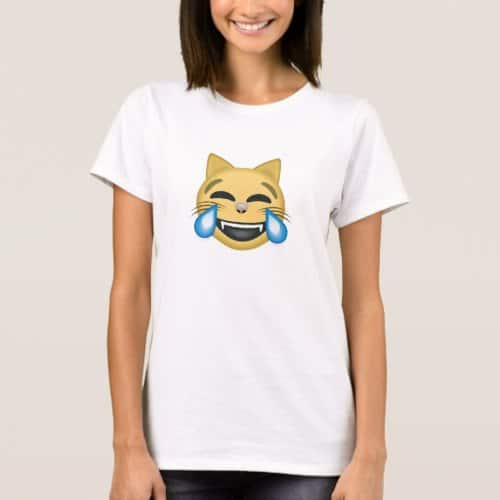 Cat Face With Tears Of Joy Emoji T-Shirt for Women