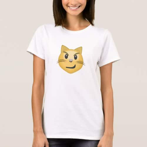 Cat Face With Wry Smile Emoji T-Shirt for Women