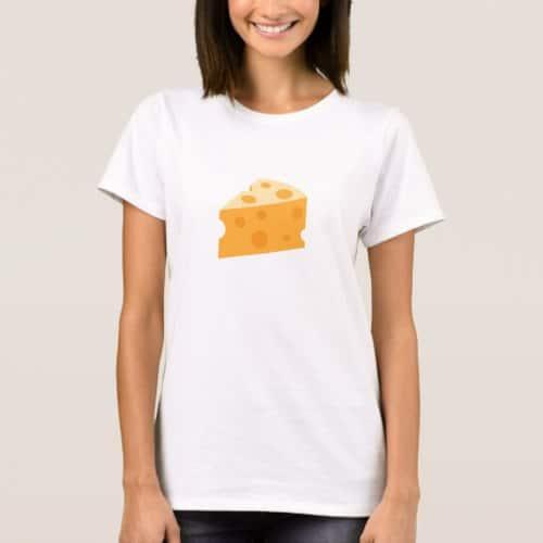 Cheese Wedge Emoji T-Shirt for Women