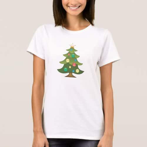 Christmas Tree Emoji T-Shirt for Women