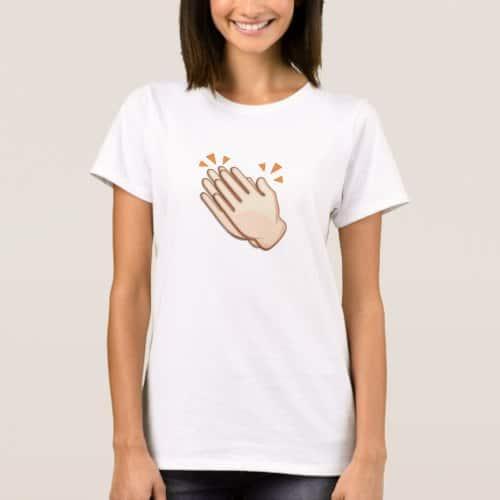 Clapping Hands Sign Emoji T-Shirt for Women