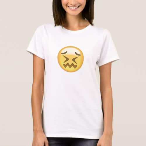 Confounded Face Emoji T-Shirt for Women