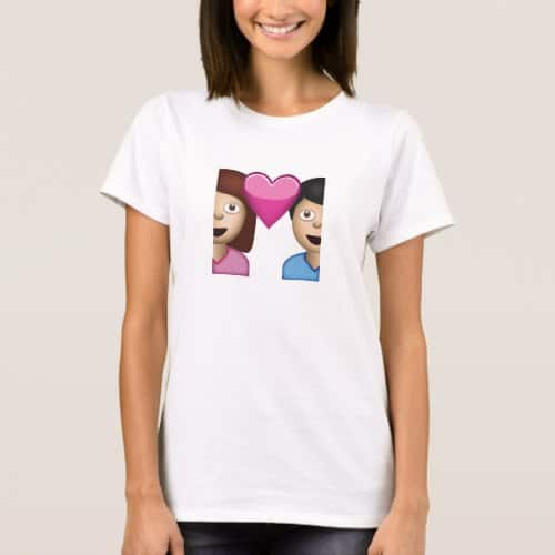 Couple With Heart Emoji T-Shirt for Women