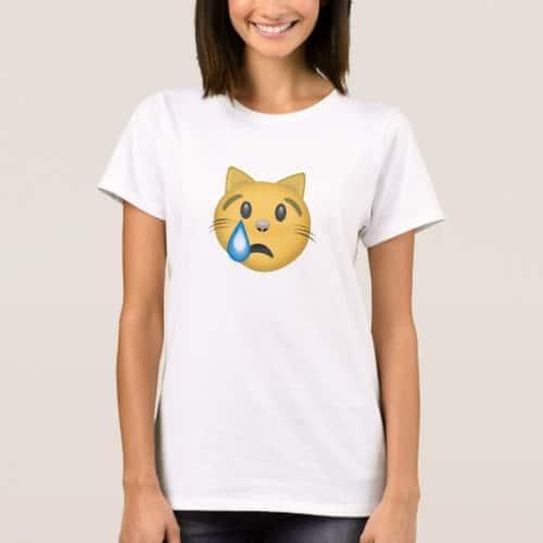 Crying Cat Face Emoji T-Shirt for Women